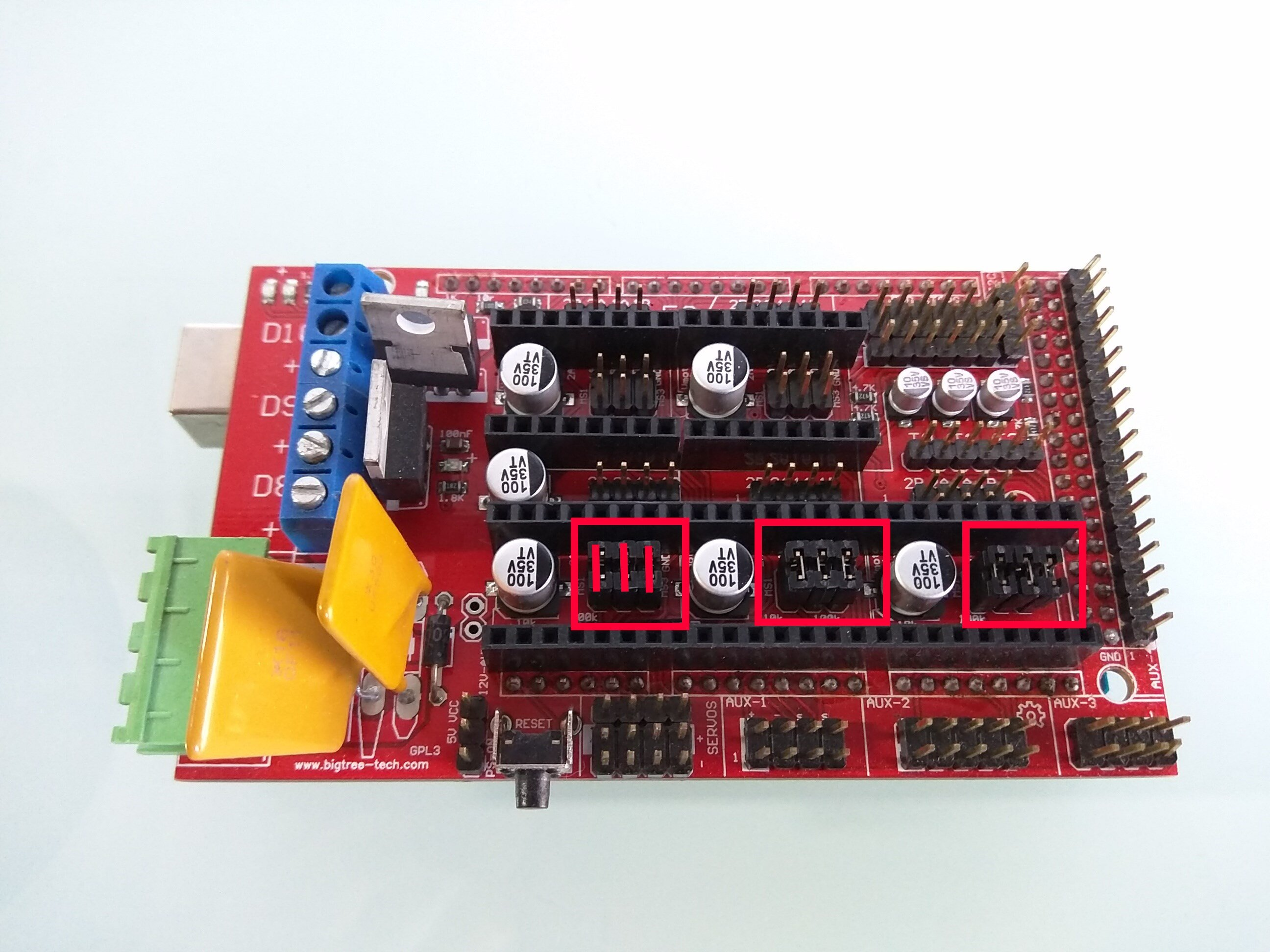Jumpers – First step is make sure you have 3 jumpers under each stepper  driver. This puts the ramps board into 32nd stepping when using the DRV8825  drivers ...