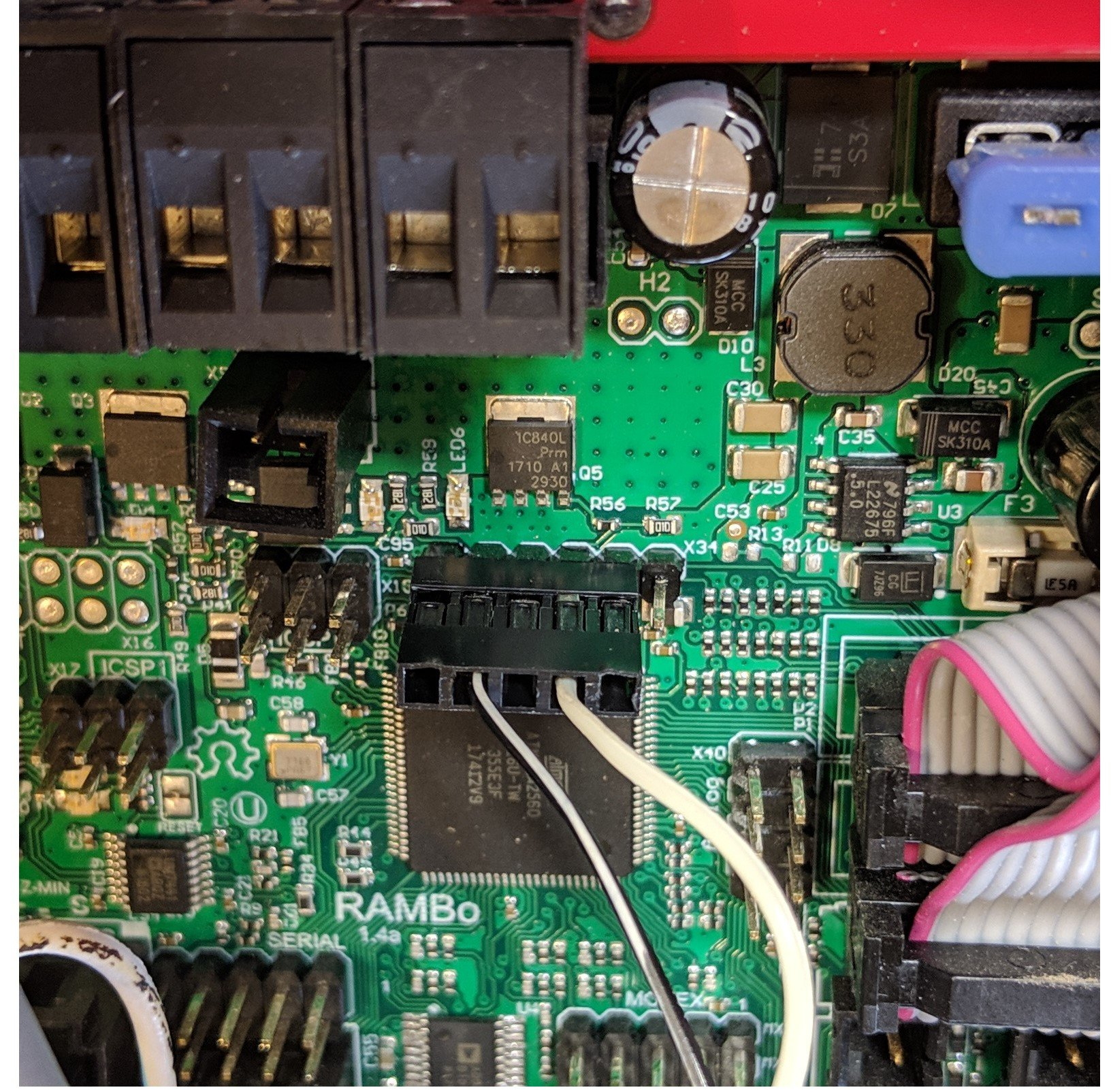Picture of header with wires connected